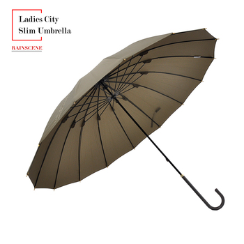 Promotional printed custom 16 ribs embroidery leather handle city slim ladies umbrella