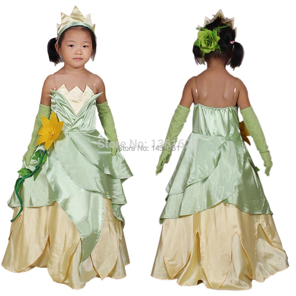 Princess Tiana Dress: 2014 Hot Selling Halloween Costume Cosplay Princess Tiana