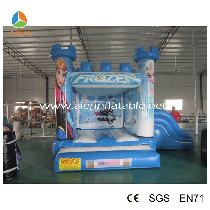 Little 0.55mm PVC frozen jump castle with slide