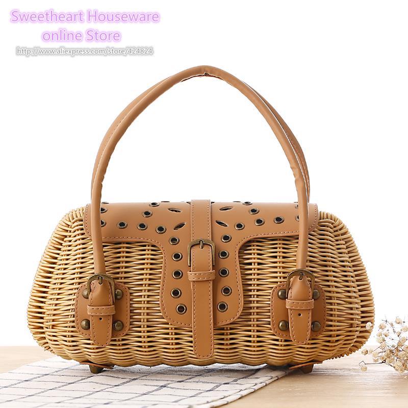 Luggage & Bags Fashion 2019 Summer New Womens Beach Basket Rattan Handbags Small Bags Handbags Rattan Handmade Small Woven Bohemian Tote Complete Range Of Articles Top-handle Bags