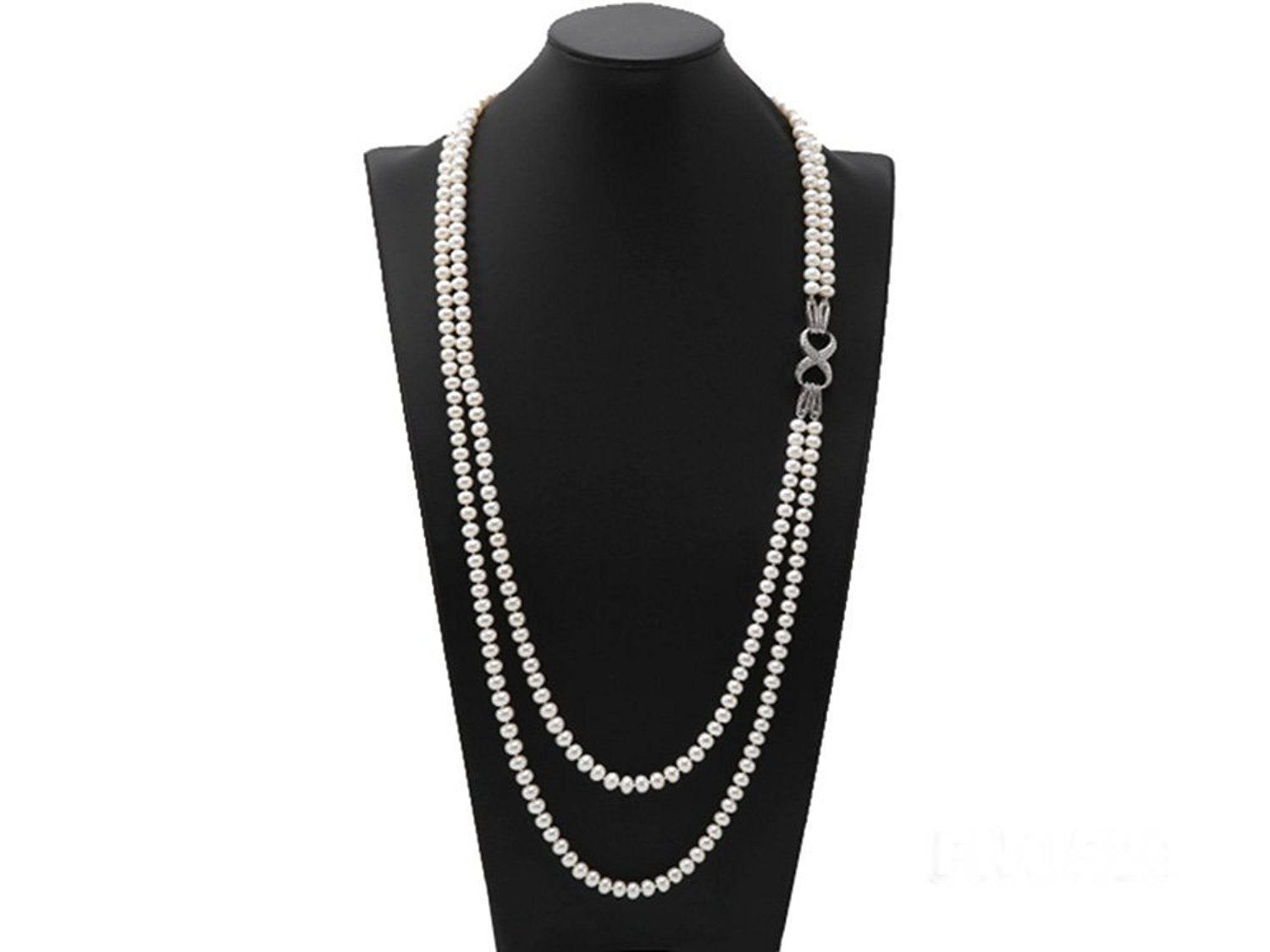 JYX High Grade7.5-8mm Two-Strand Freshwater Pearl Opera Necklace