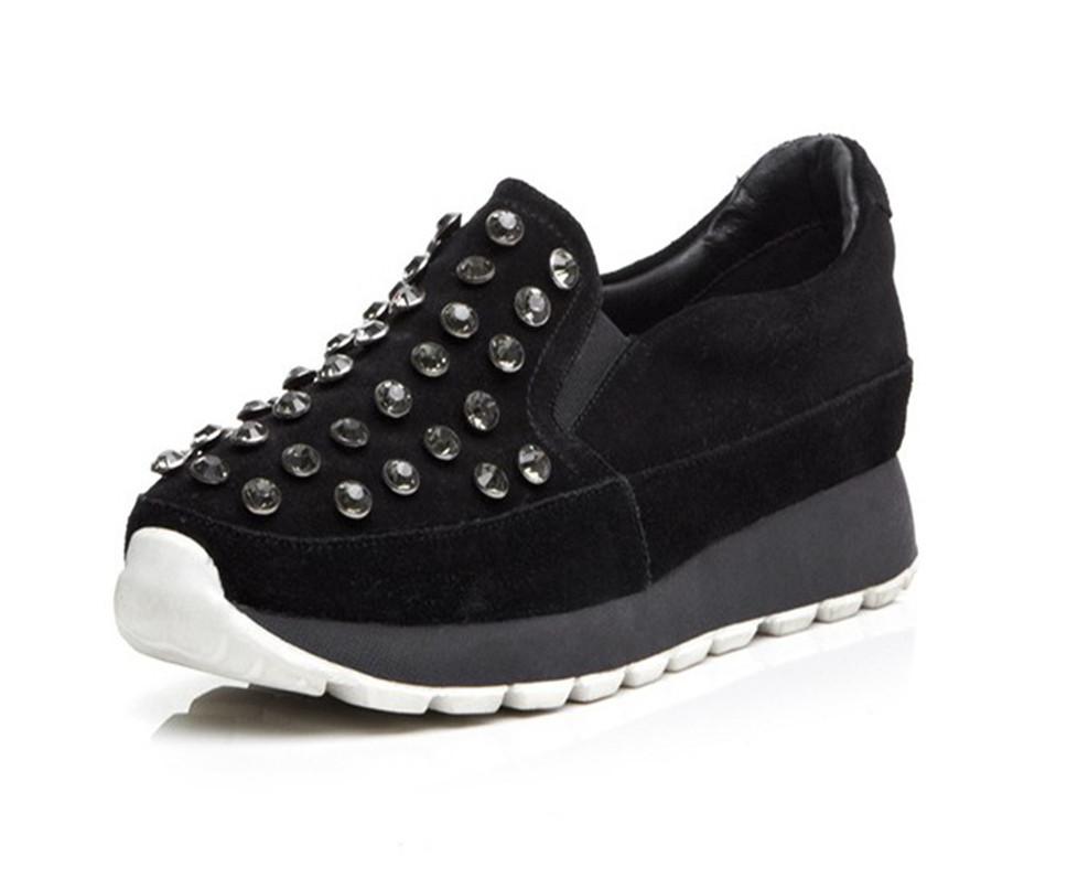 edb7c332f5e Get Quotations · Women Genuine Leather Loafers Fashion Round Toe Slip-on  Non-slip Wedges Rhinestone Casual