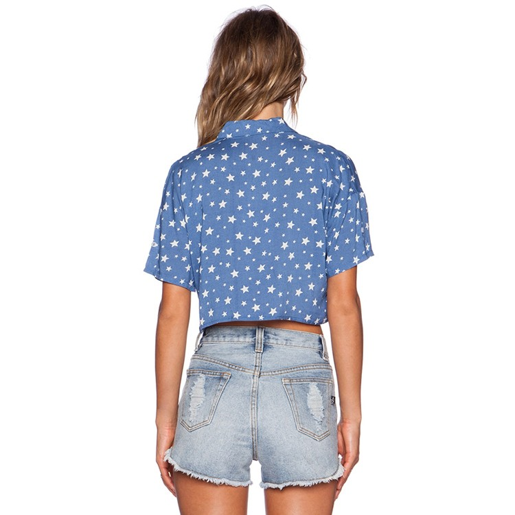 European and American Street Star Print Single Pocket Lace Hem Short Slim Slim Shirt