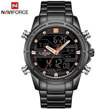 Часы NAVIFORCE мужские, армейские, из нержавеющей стали, кварцевые, светодиодный, аналоговый(Китай)