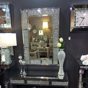Rectangle framed crushed diamond fancy wall mirror