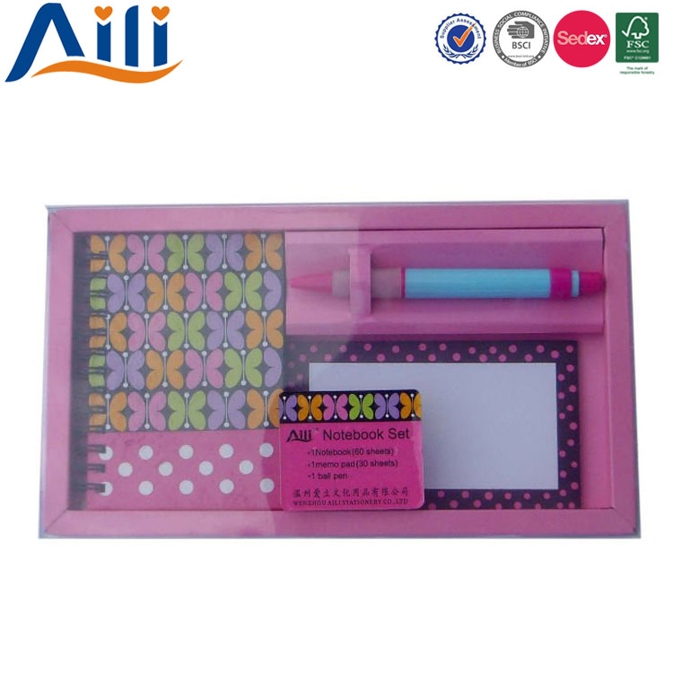 Promotions portable eco-friendly hardcover school stationery set