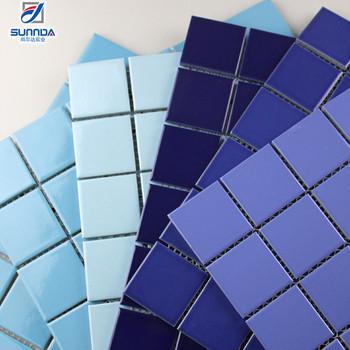 Colorful Glazed Mosaic Floor Tiles Blue Crystal Glossy Ceramic