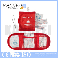 2019 new KF406 30 Piece First Aid Kit Travel & Camping Compact and Portable Mini Emergency Response Kit with Keychain