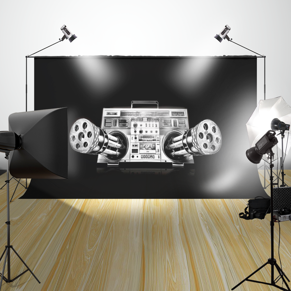 Studio Prop Photo Background Old Recorder In Crative Machine Gun Customize Digital Printing Photography Backdrops