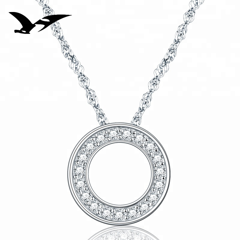 Fashion cubic zircon circle of life pendant necklace in 925 solid <strong>silver</strong>