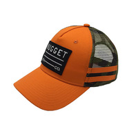 Custom design embroidery patch logo orange baseball caps trucker mesh side stripes hat for outdoor sports