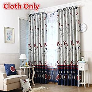 WPKIRA Window Treatments Kids Cartoon Curtains Airplane Grommet Top Thermal Insulated Room Darkening Blackout Curtains Window Panel for Bedroom/Living Room 1 Panel W52 x L63 inch