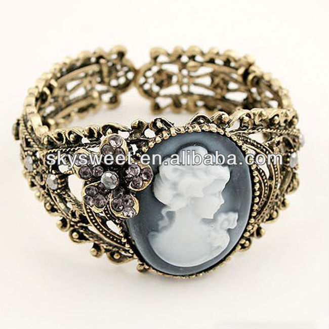 cameo bracelet, gold filigree bangle bracelet