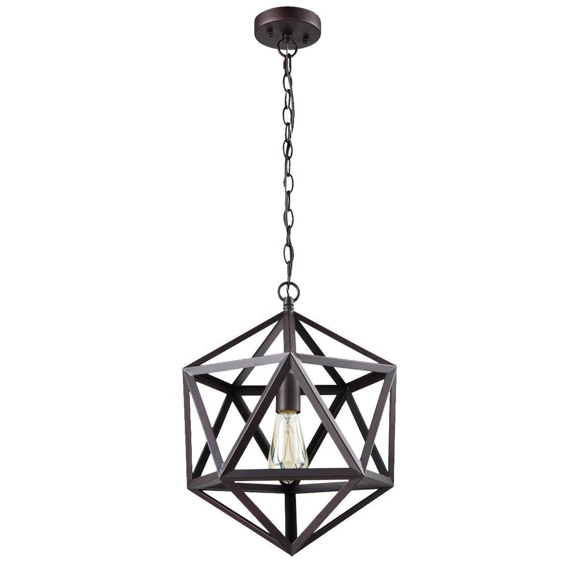 Modern Vintage Loft Rustic Hanging Metal Iron Lighting Fixtures Geometric Cage Pendant Light Chandelier Ceiling Lamp