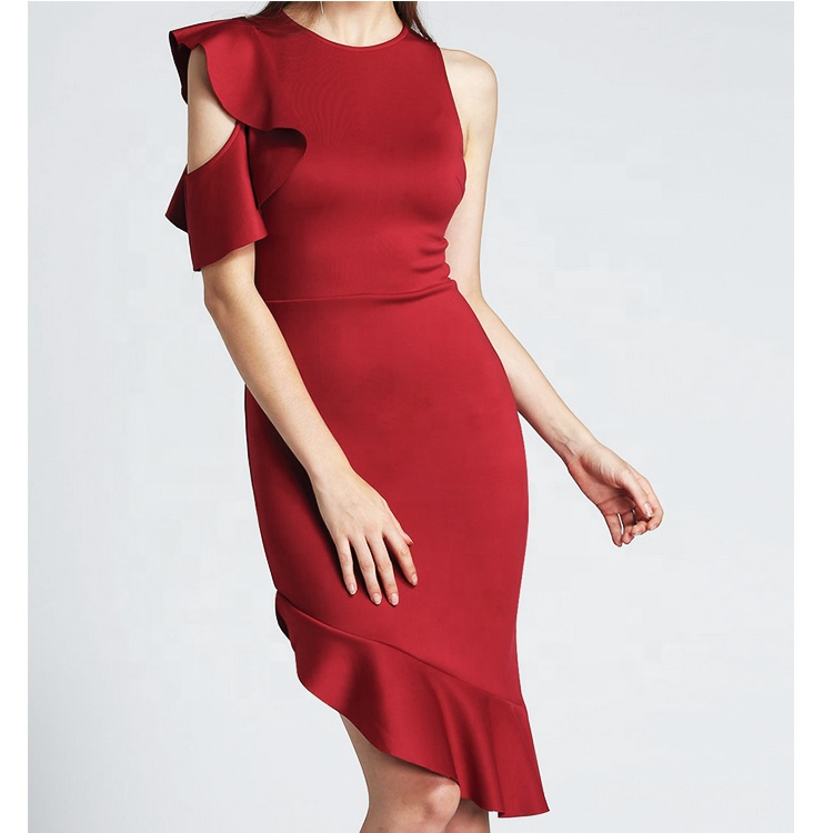 Sexy Wine <strong>Red</strong> One Shoulder Ruffle Sleeve Leaves Hem O- neck Elegant <strong>Dress</strong> Ladies Women