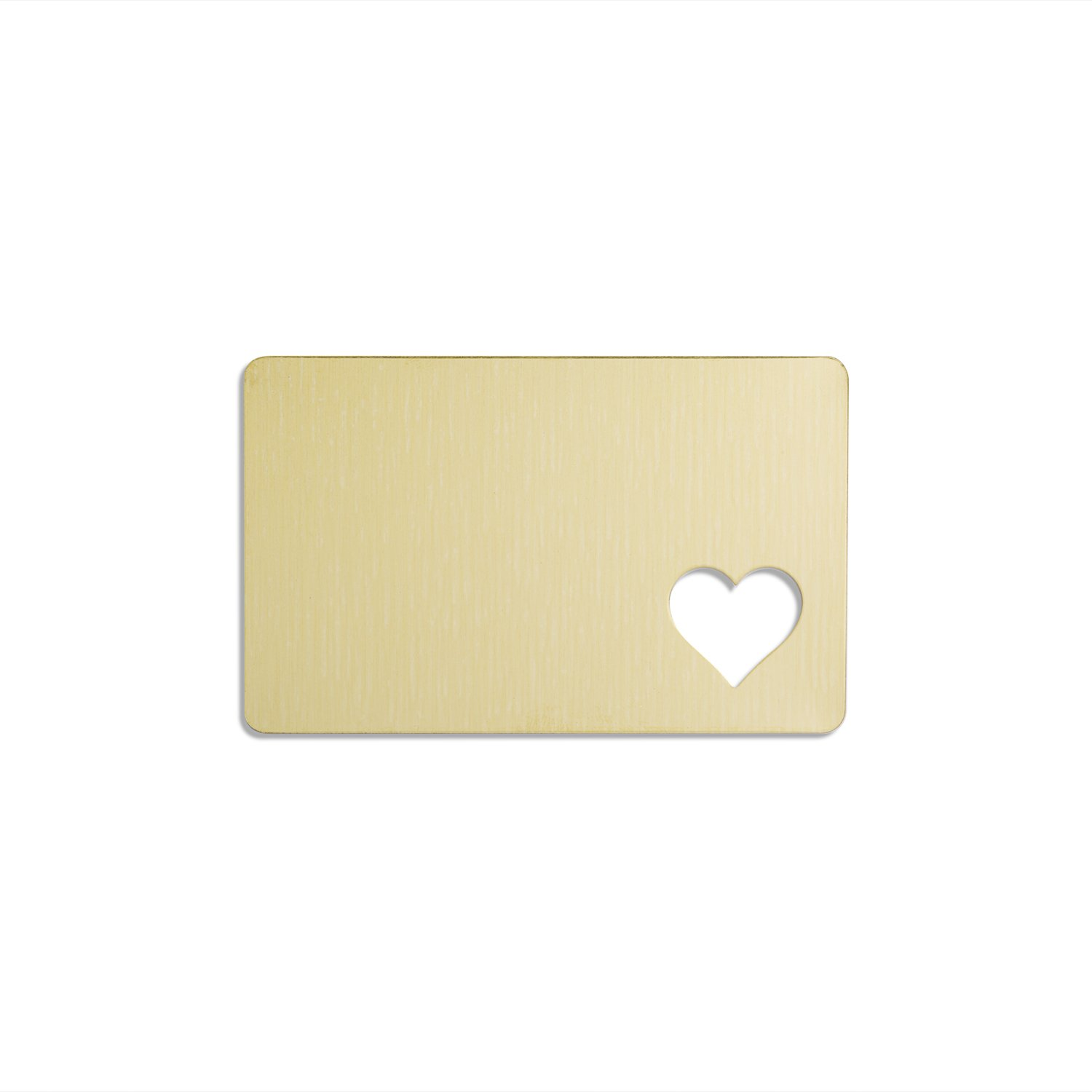 "RMP Stamping Blanks, 2 1/8"" X 3 3/8"" Rectangle Wallet Card With .691"" X .75"" Heart Cutout, .032"" (20 Gauge) Brass - 6 Pack"