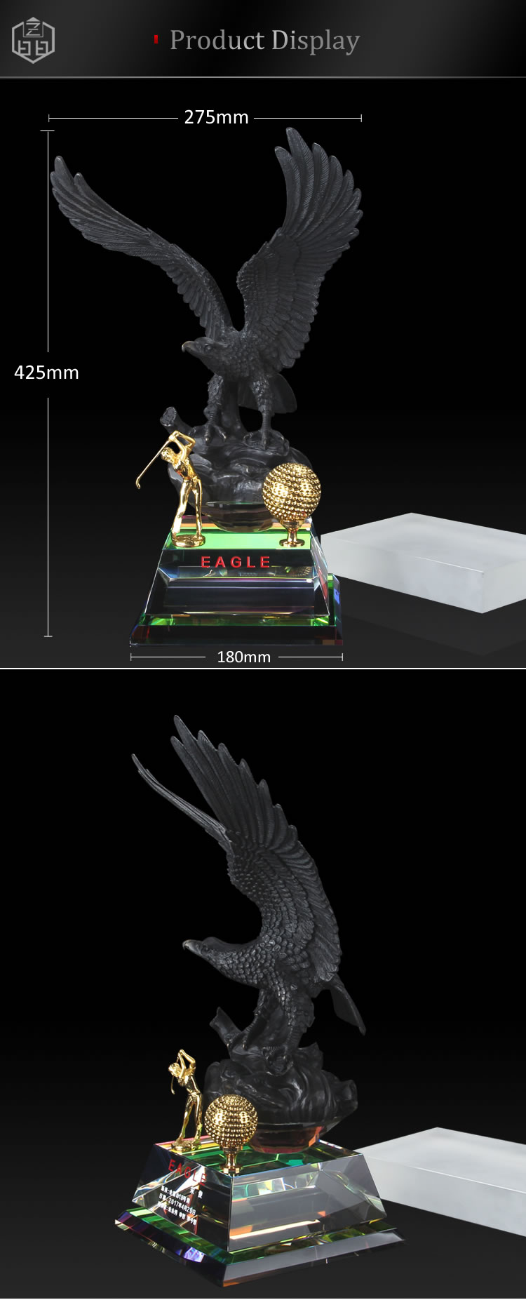 FengShui Sport Golf Price Trophy With Eagle Sculpture For Home Decor