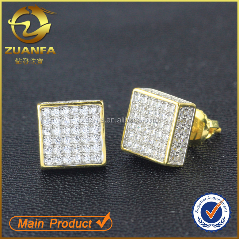 hot sell high quality hip hop iced out cz lab diamond squaresilver men's earrings