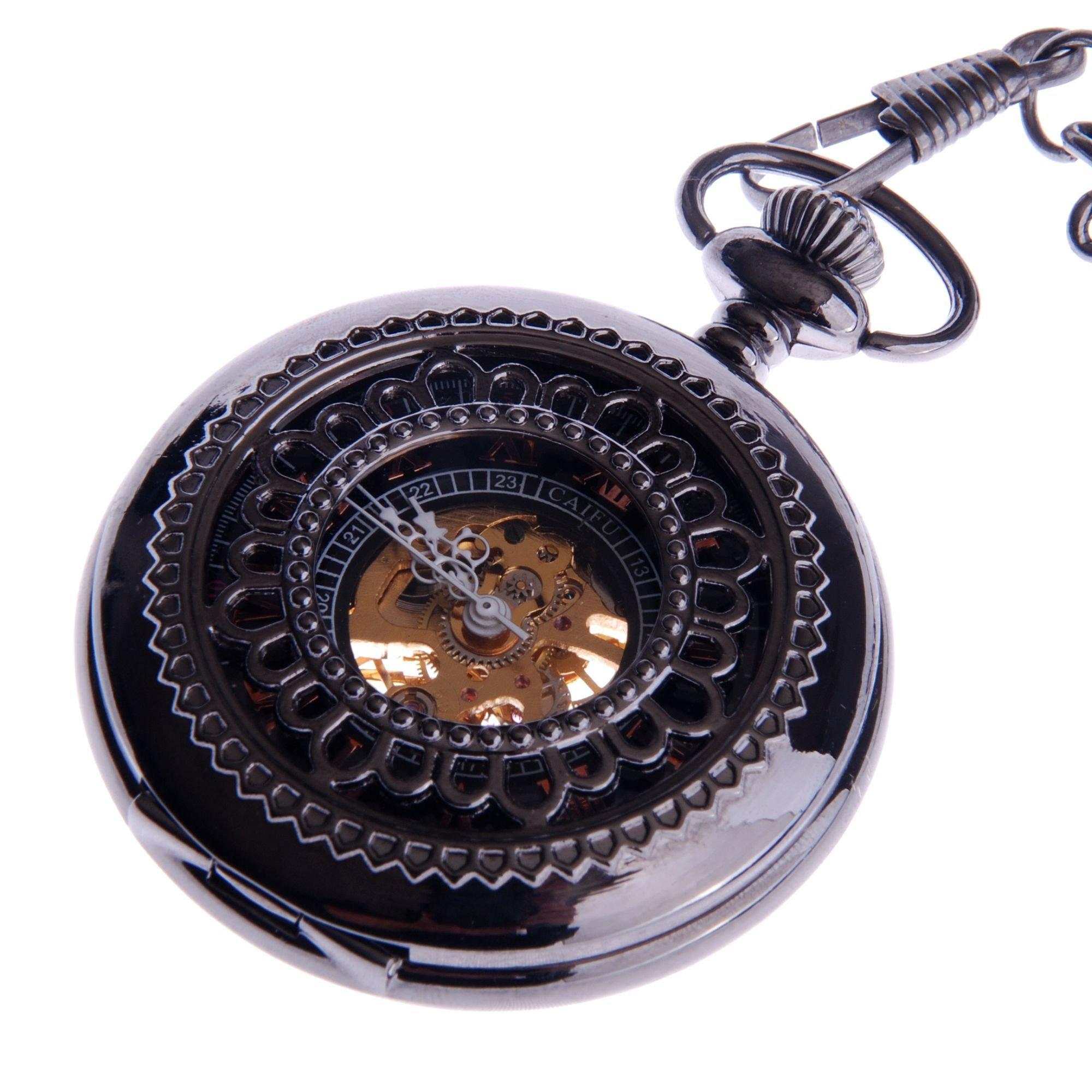 Skeleton Mechanical Pocket Watch Wind Up with Chain Mens Steampunk Pocketwatch Reloj de Bolsillo by ShoppeWatch- PW33
