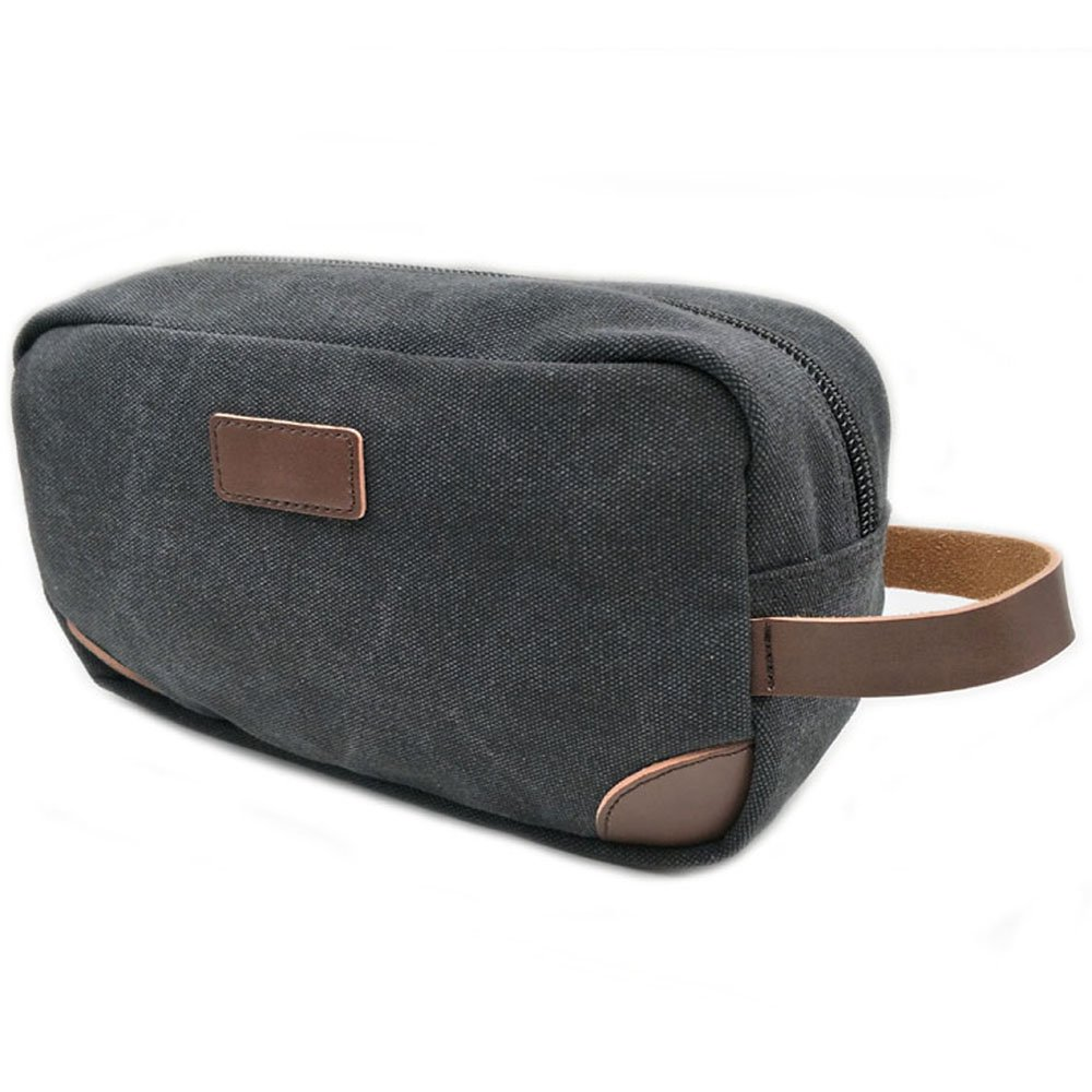 Canvas Shaving Dopp Kit Case, Small Vintage Cosmetic Bag for Men Canvas Travel Toiletry Bag Pack Zipper Tote Make Up Bag Durable Wash Bag Organizer