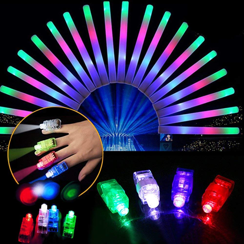Lifbeier LED Flashing Finger Lights 100 PCS with Glow Foam Sticks 12 PCS - Glow in the Dark Party Favors, Light-up Toys for Kids Wedding Birthday Christmas Halloween