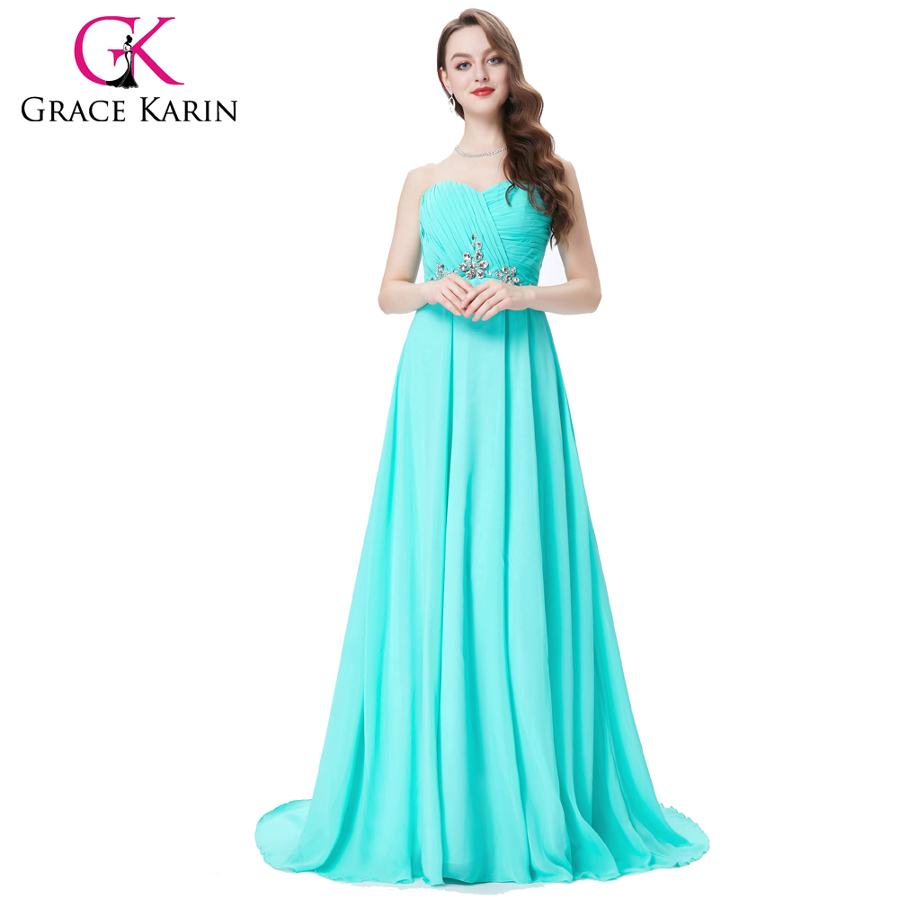 Grace Karin Strapless Sweetheart Turquoise Beaded Chiffon Long Mermaid Evening Dresses CL6290