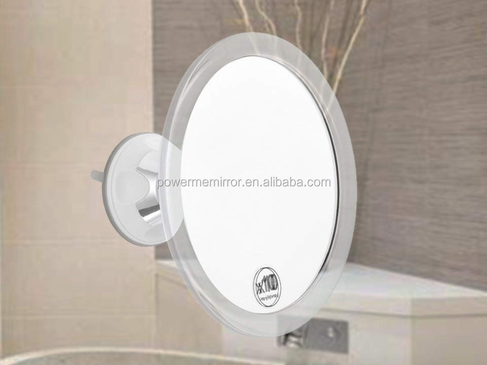 Transparent Wall Mounted Makeup Mirror No Fog With Swivel Suction Cup