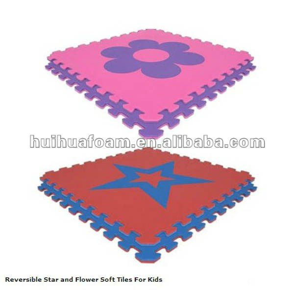 Reversible Star and Flower Soft EVA puzzle flloor mat For Kids