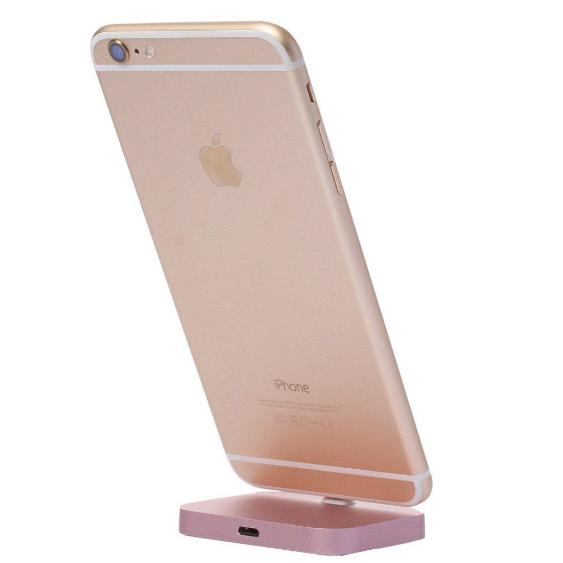 Apple Aluminium Charging Dock, Fone-Stuff - Desktop Charge and Sync Cradle Mount Stand for iPhone 7/Plus 6s Plus & 6 Plus in Rose Gold