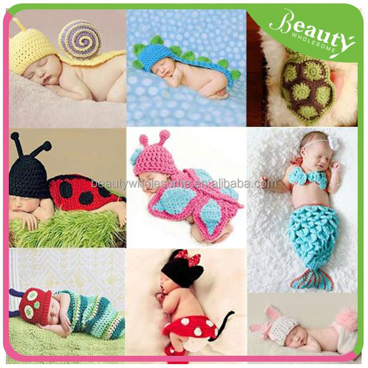 H0T013 Baby Newborn Photography Props Crochet Baby Beanie Hat with Suspender Pant Knitted Costume Outfit