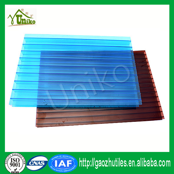 GE SABIC uv coated reinforced corrugated impact resistance waterproof uv coated polycarbonate hollow panel