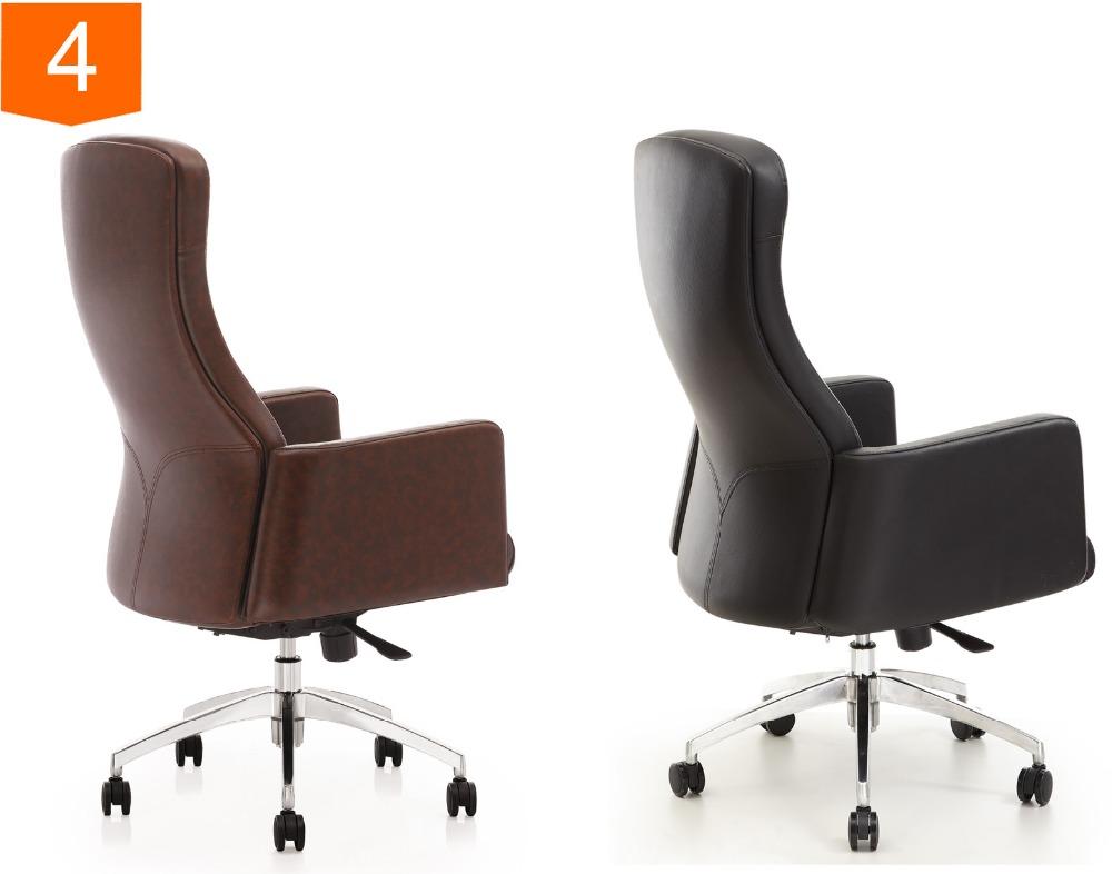 Zwarte luxe bureaustoelen draaibare lederen bureaustoel base