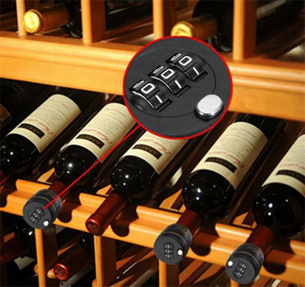 Hitam ABS 3 Digit Botol Anggur Kunci Sandi Kombinasi Anggur Stopper