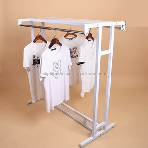 BDD-CL902 metal double rail clothes rack t shirt display, commercial garment rack