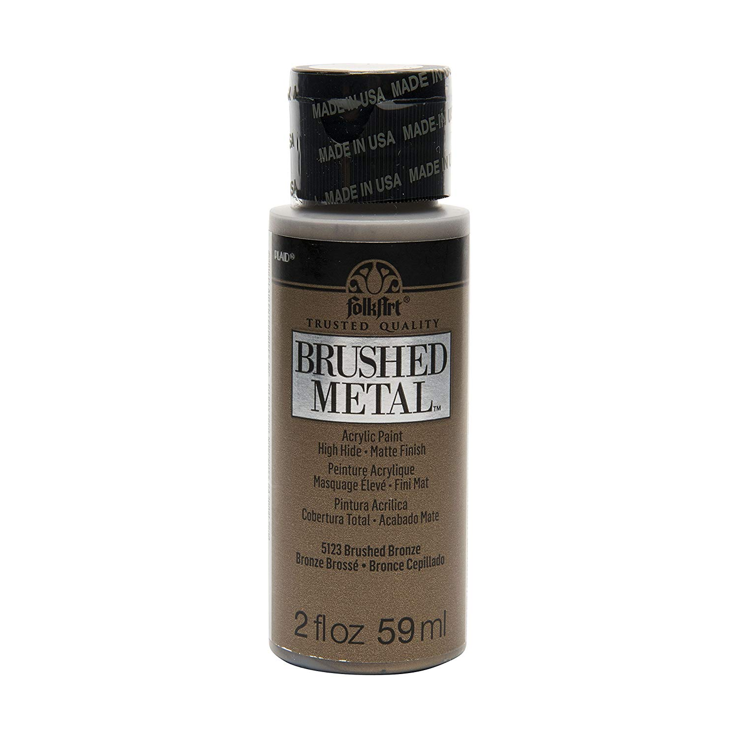 FolkArt Brushed Metal Paint in Assorted Colors (2 oz), 5123 Bronze