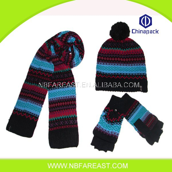Cheap winter soft warm new design scarf hat and glove sets