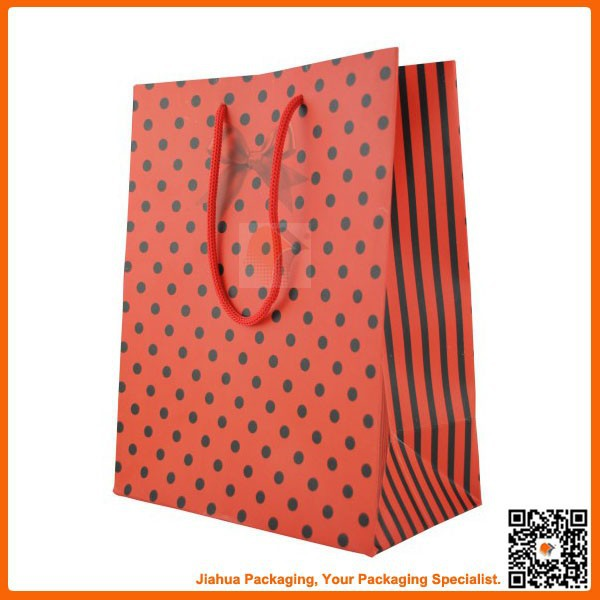 red matte lamination polka dot paper gift bag