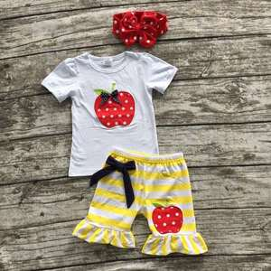 girl summer shorts outfits girls back to school clothing children apple setsyellow stripe shorts boutique with headband