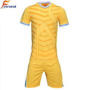 Customized Good Quality blue yellow Soccer Training Jersey For Adult / Child