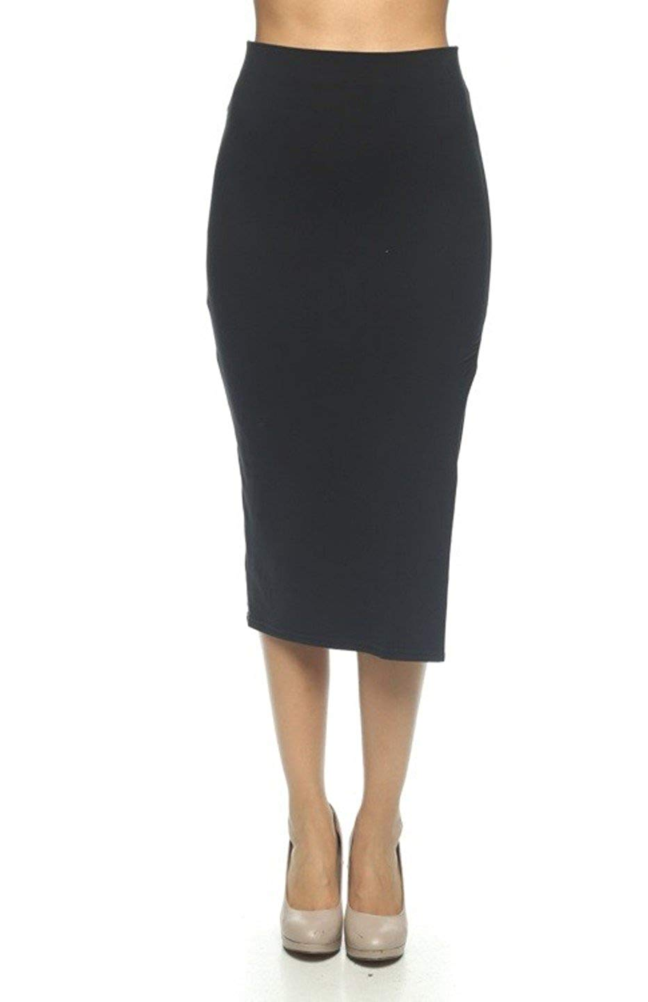5f43f46a4ec Get Quotations · 2LUV Women s Side Slit Pencil Skirt Black M (BS1884)