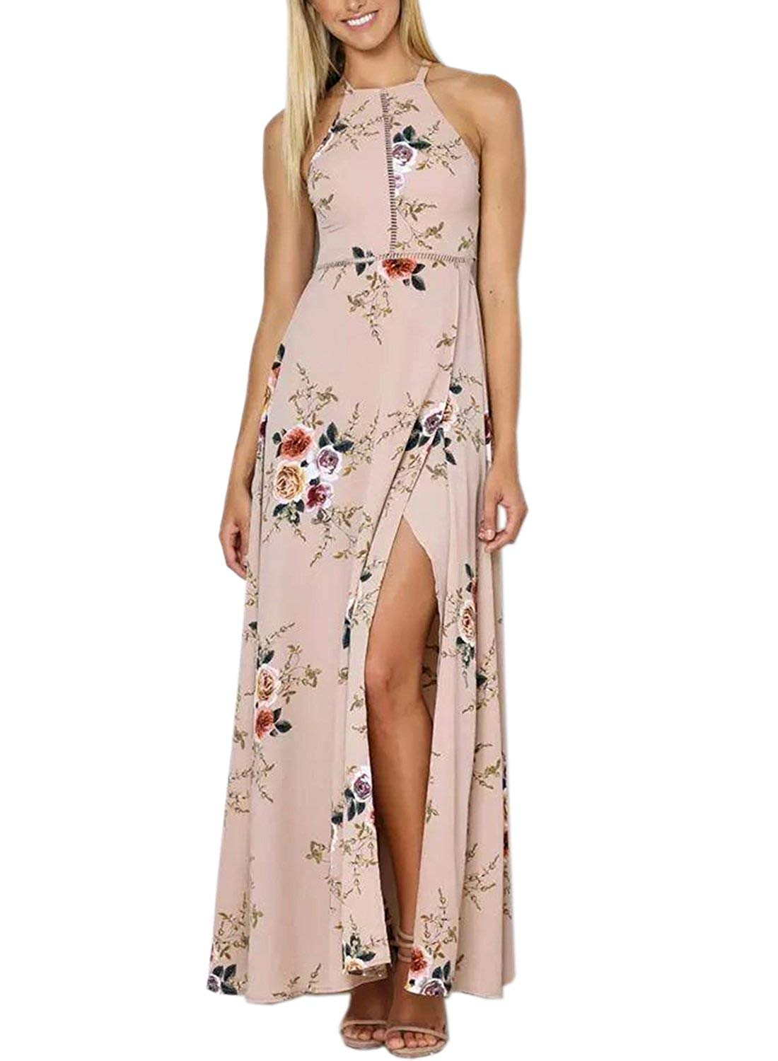 Get Quotations · Futurino Women s Halter Floral Print Backless Flowy Hollw  Out Front Maxi Dress 69f662e6e