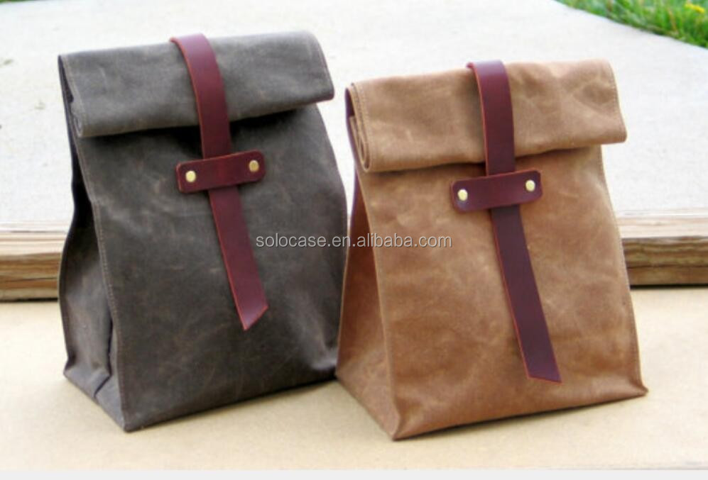 Waxed Canvas And Leather Lunch Tote Bag