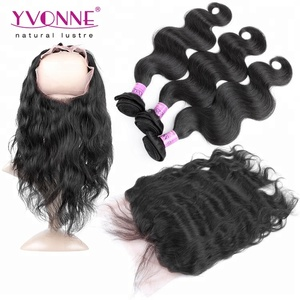Body Wave Brazilian Human Hair 360 Frontal Lace Closure With Bundles