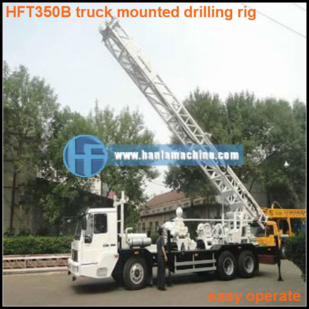 for core and geological drilling,truck mounted HFT350B bore well drilling rig,can drill depth 80~300m