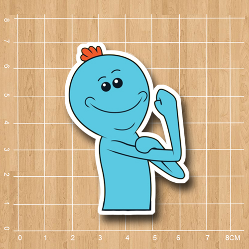 Rick and Morty Mr Meeseeks Notebook refrigerator skateboard trolley case backpack Tables book sticker PVC sticker