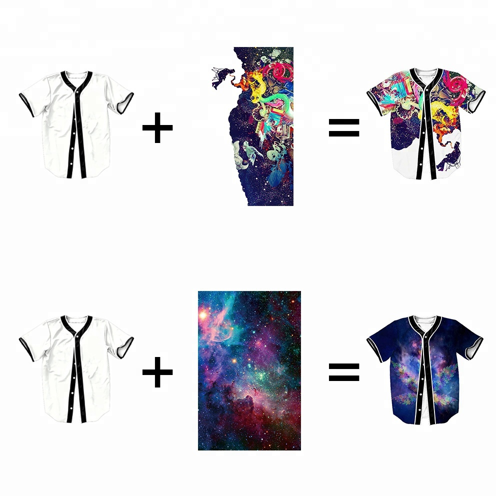 Drop Shipping custom sublimation digital full printing blank baseball jersey