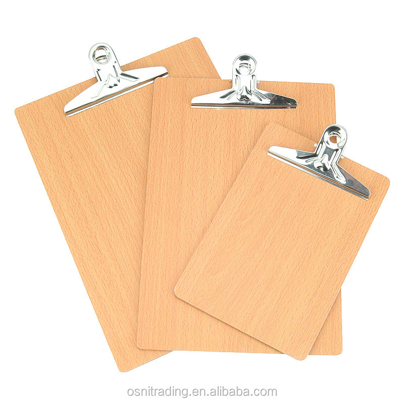 Wholesale customized A4 A5 metal clip board mdf wooden clipboard