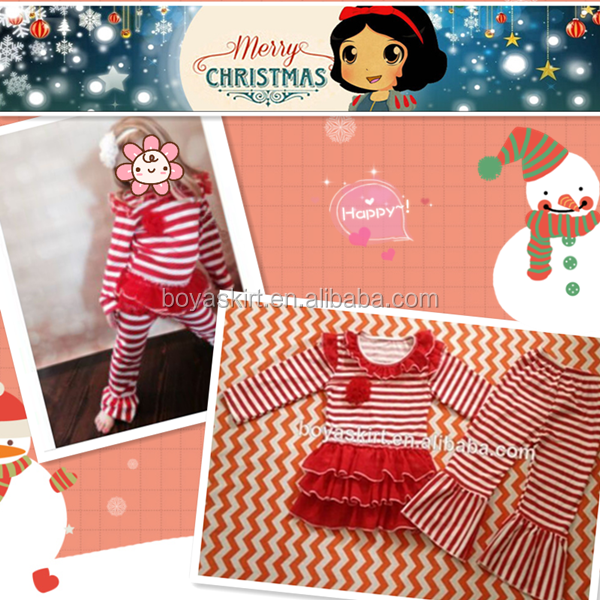 Christmas fall winter girl red stripes top and pants baby girls boutique dress outfit new year kdis ruffles clothes