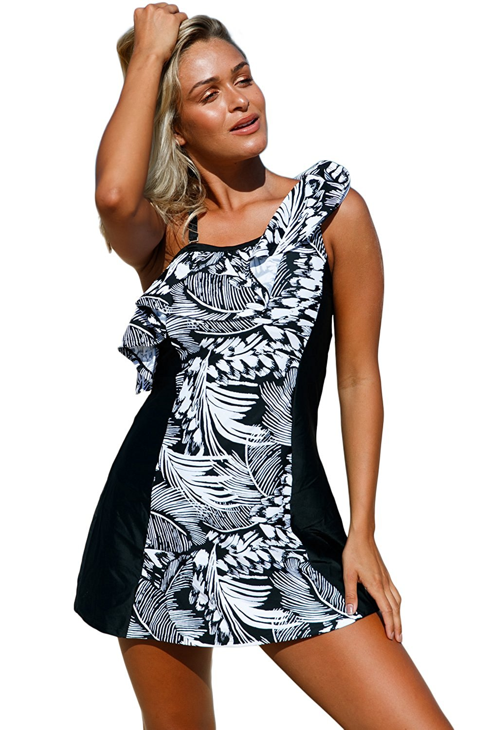 ba8447e613 Get Quotations · Prime Leader Women s Monochrome Jungle Swim Dress with  Shorts
