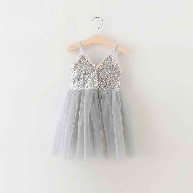 e8a253b7671f4 Cheap 2017 Kids Girl Summer Sequin V-neck Tulle Princess Dress Children  Cute Tutu Evening